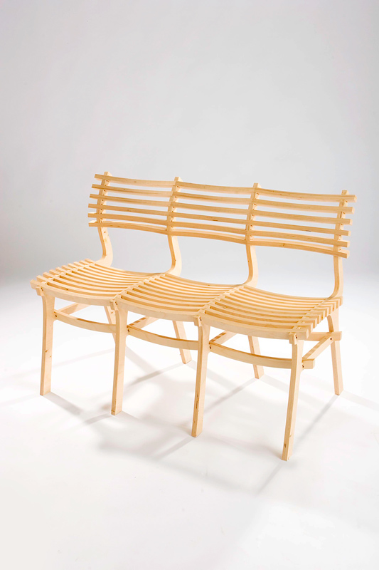 The Biggie chair bench looks beautiful in it's natural wood colour.