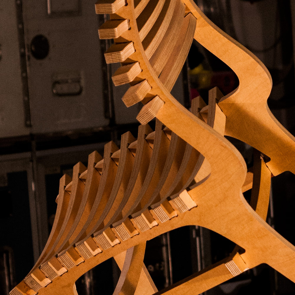 A close-up of the bones of the chair, a lovely curve that cushions your posterior