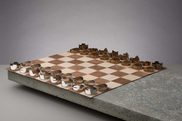 Luxury chess set made in England from softest leather and steel