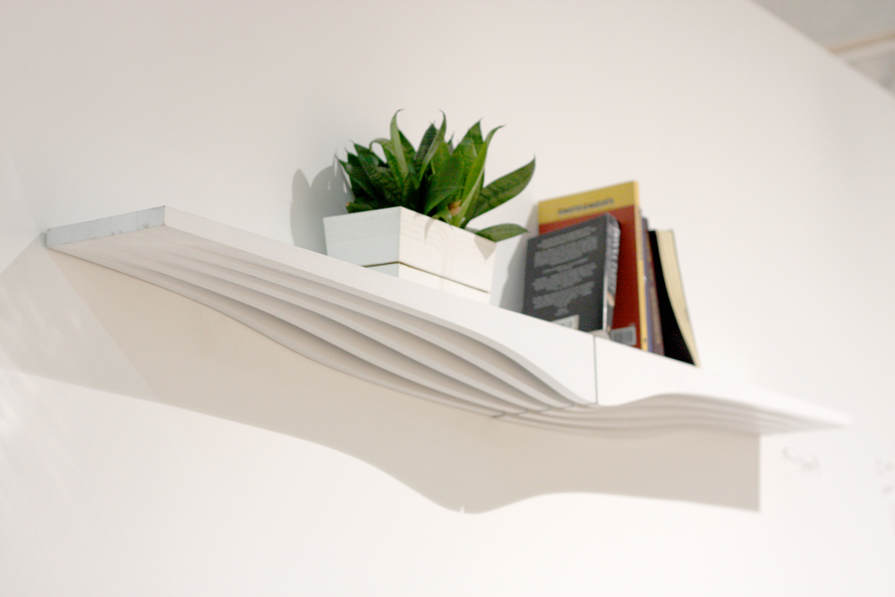 A pair of white countour shelves affixed to a white wall, holding a small potted plant and some books.