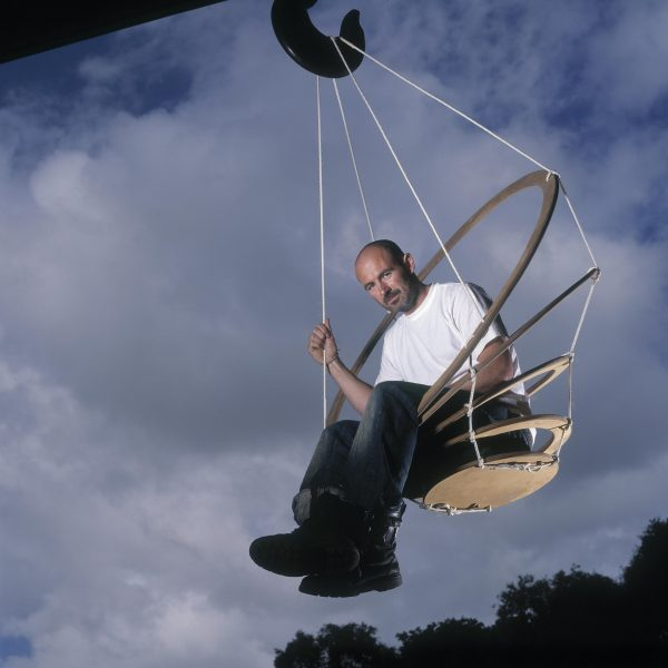 Nick Rawcliffe in hanging chair